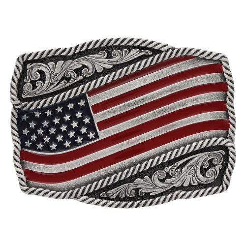 Montana Silversmiths Classic Painted Waving Flag Attitude Belt Buckle A590P