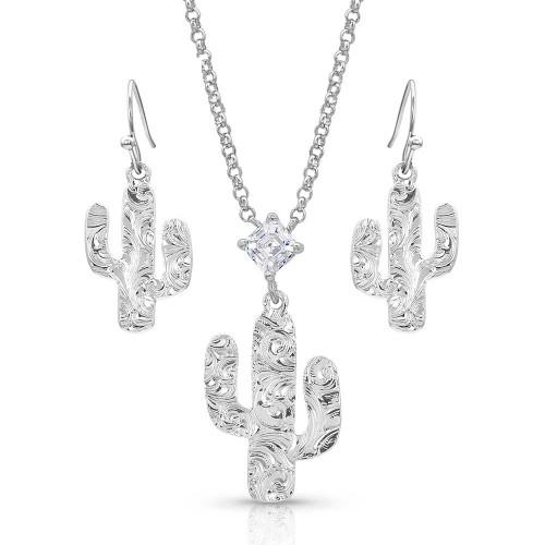 Montana Silversmiths Desert Full Moon Cactus Jewelry Set JS4446