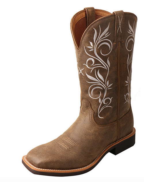 Twisted X Women's Bomber Ivory Embroidery Top Hand Boot WTH0012