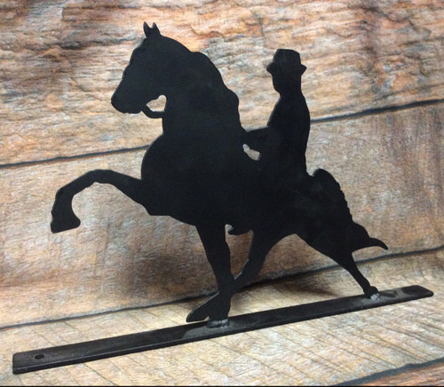 Metal Performance Tennessee Walking Horse with Rider Mailbox Topper