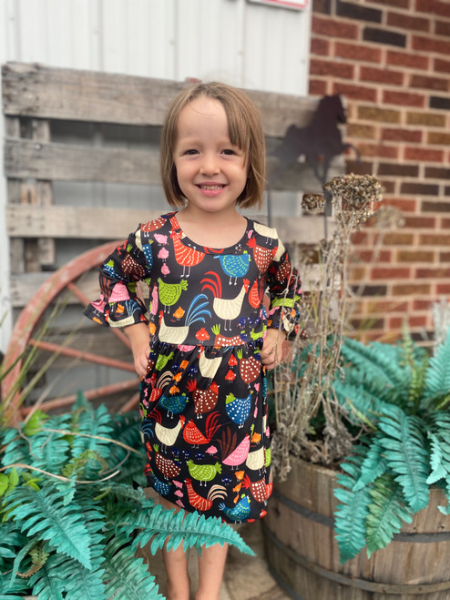 Vibrant Cluckers Ruffle Sleeve Dress Multicolored Chicken Print
