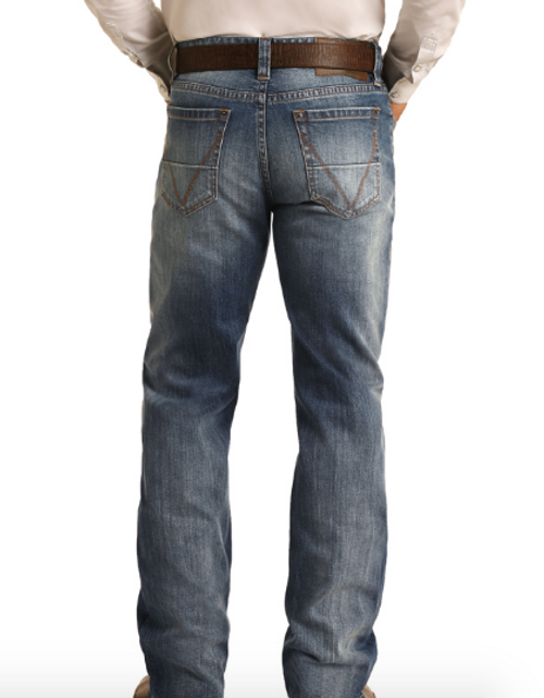 Rock & Roll Cowboy Light Wash Double Barrel Relaxed Fit Straight Leg Vintage 46 Jeans M0S4247