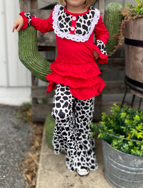Red Cow Print Tiered Ruffle Bell Bottoms Outfit