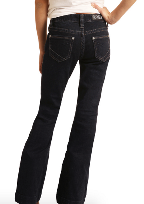 Rock & Roll Cowgirl Girl's Dark Wash Trouser Jeans G5F6144