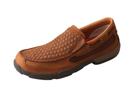 Twisted X Men's Oiled Saddle and Brown Basketweave Slip On Moc MDMS017