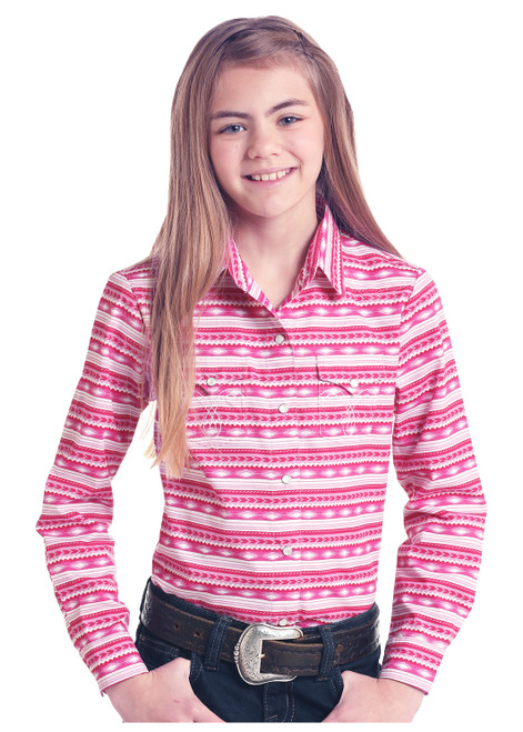 Girls Pink and White Print Snap Up Long Sleeve Show Shirt by Panhandle White Label C6S6479