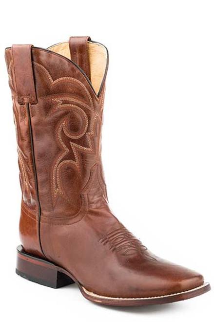 Roper Parker Cognac Brown Leather Square Toe Leather Sole Cowboy Boot 09-020-9201-1611 BR