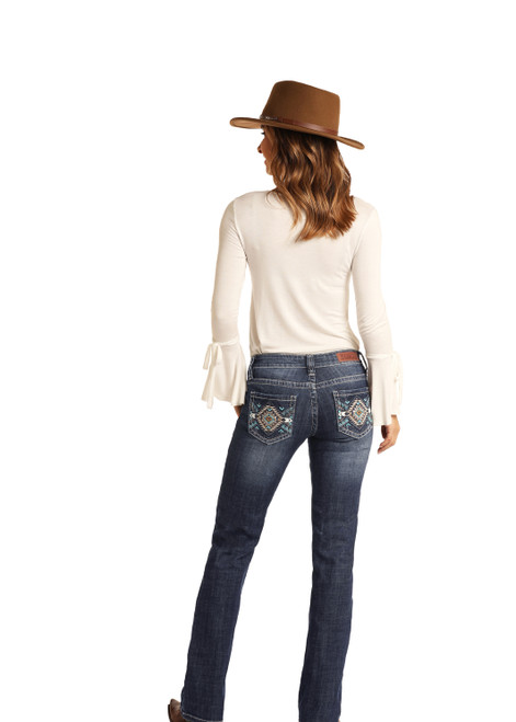 Rock & Roll Cowgirl Medium Vintage Wash Boot Cut Mid Rise Jeans W1-6126