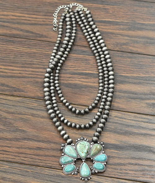 Turquoise Naja Squash Three Strand Navajo Pearl Necklace 731821