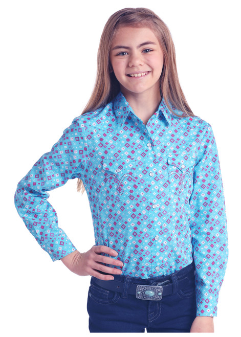 Girl's Turquoise and Pink Aztec Long Sleeve Snap Shirt by Panhandle C6S6477
