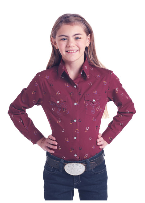 Girl's Burgundy Horseshoe Print Pearl Snap Show Shirt by Panhandle White Label C6S6811