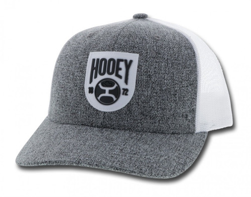 Bronx Grey and White 6-Panel Trucker with White and Black Patch by Hooey