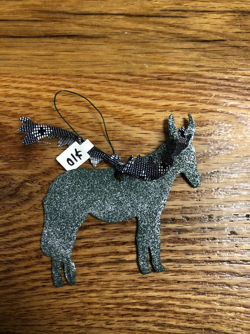 Green Metal Mule Ornament with Black and White Pattern Ribbon