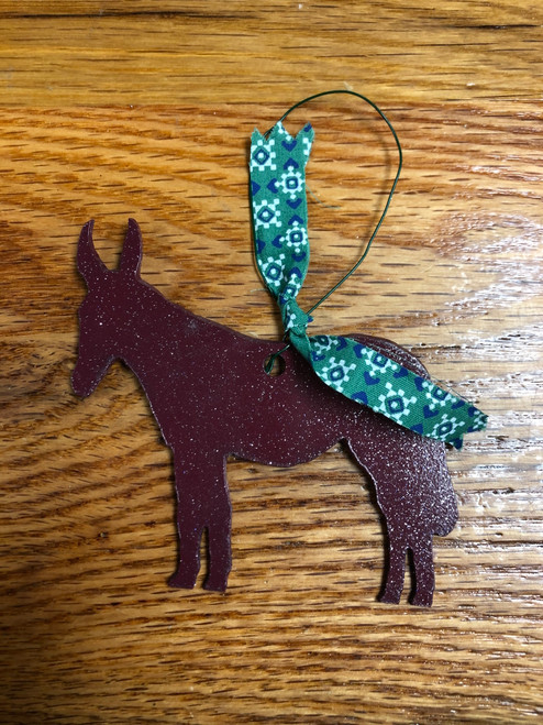Maroon Metal Mule Ornament with Green and Blue Pattern Ribbon