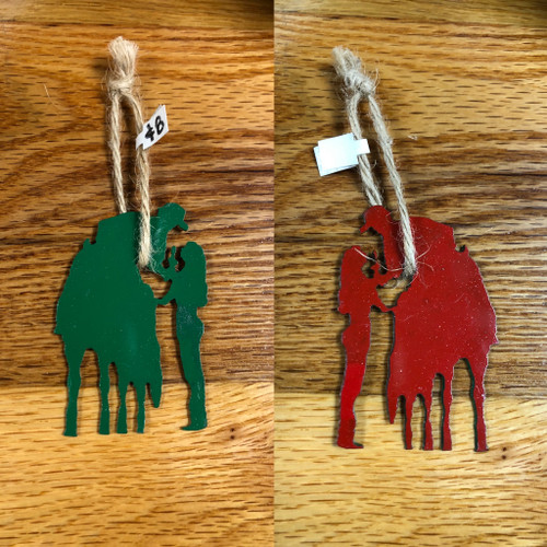 Reversible Green and Red Metal Couple Ornament with Twine Hanger