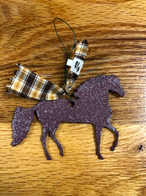 Maroon Metal Paso Fino Ornament with Yellow and Brown Plaid Ribbon