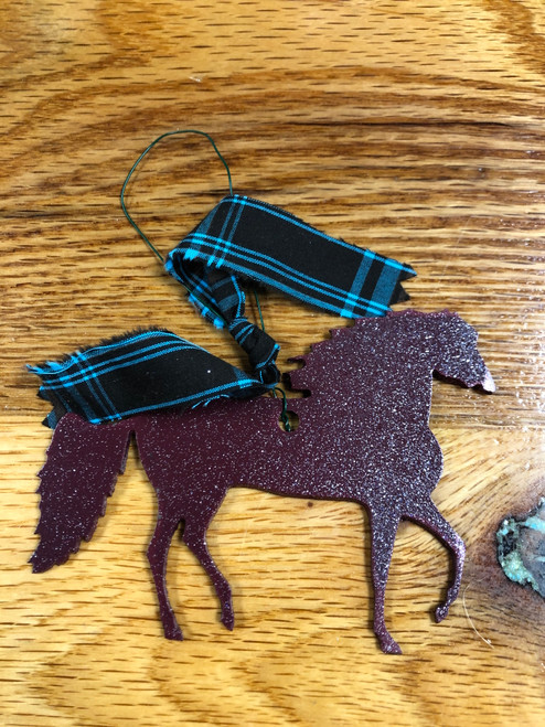 Maroon Metal Paso Fino Ornament with Turquoise and Black Plaid Ribbon