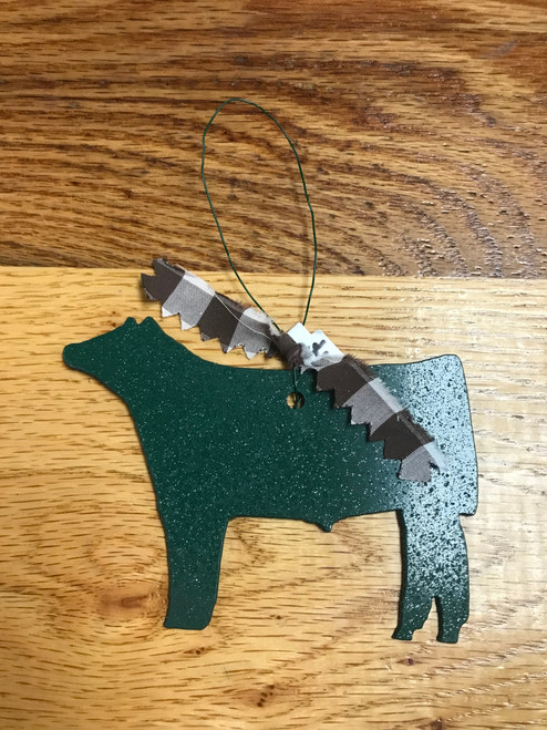 Green Metal Steer Ornament with Brown and White Plaid Ribbon