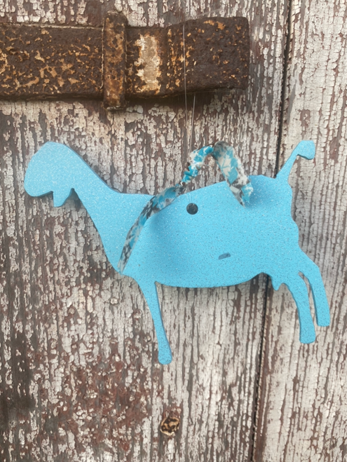 Turquoise Metal Dairy Goat Ornament with Turquoise and Brown Pattern Ribbon