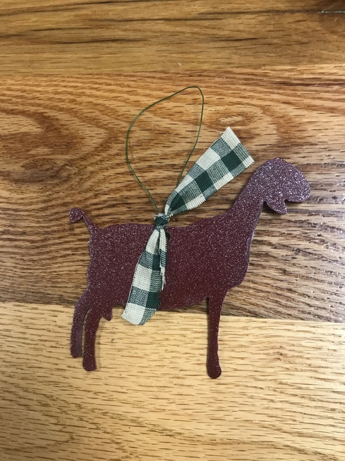 Maroon Dairy Goat Ornament with Green Plaid Ribbon
