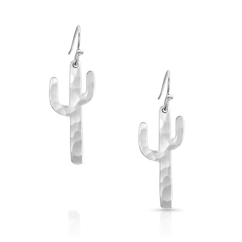 Montana Silversmiths Hammered Silver Cactus Earrings ER4288