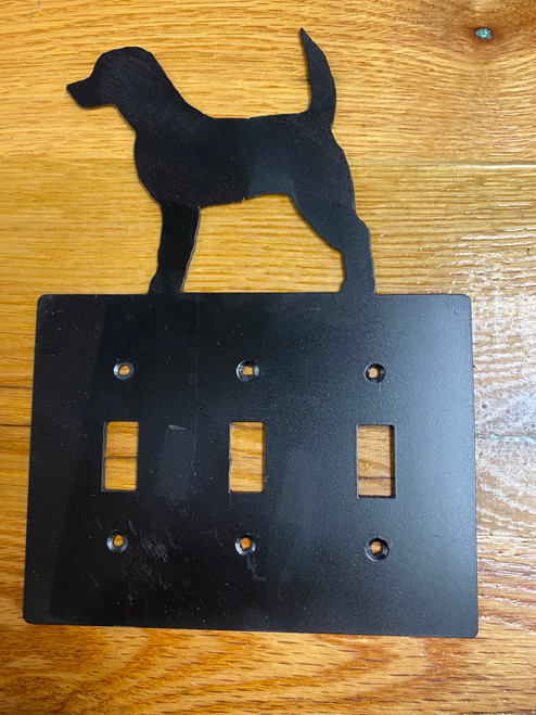 Black Beagle Triple Switch Cover