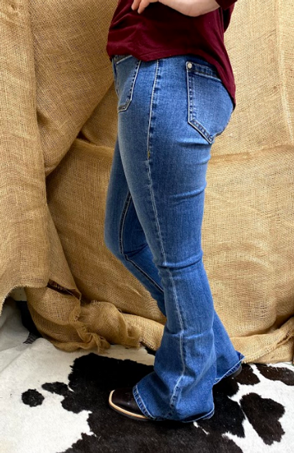 Ladies Medium Wash High Rise Flare Jeans with Square Hip Pockets by Rock & Roll Cowgirl WHN6152