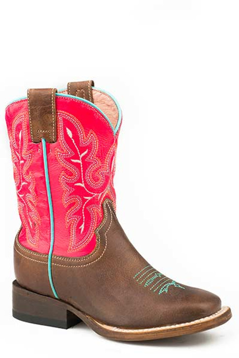 """Roper Little Kids """"Nellie"""" Square Toe Cowboy Boot in Bright Pink & Brown Leather 09-018-7022-1631 BR"""