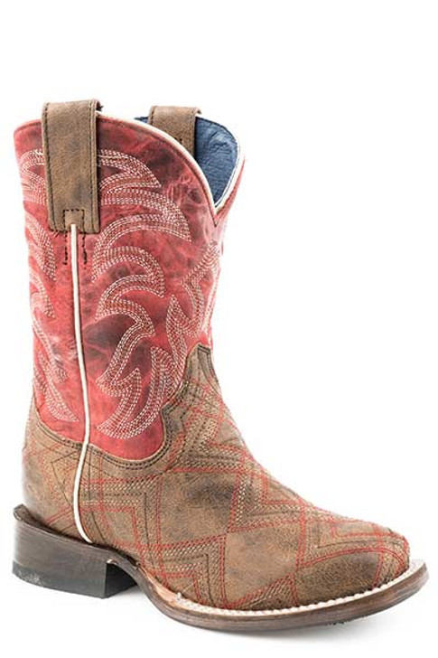 """Roper Little Kids """"Zig Zag"""" Western Embroidery Boot in Red and Brown Leather  09-018-7022-1513 BR"""