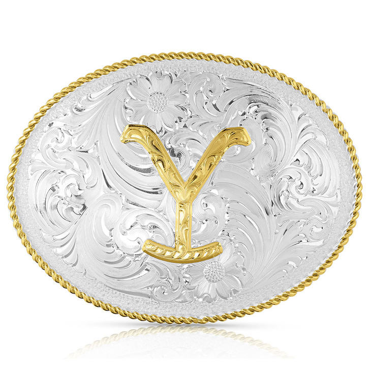 The Yellowstone Dutton Ranch Belt Buckle by Montana Silversmiths  YELLOW17