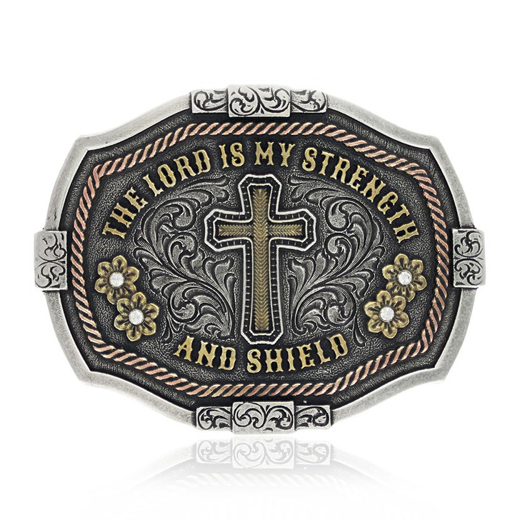 Strength and Shield Attitude Buckle by Montana Silversmiths  A830