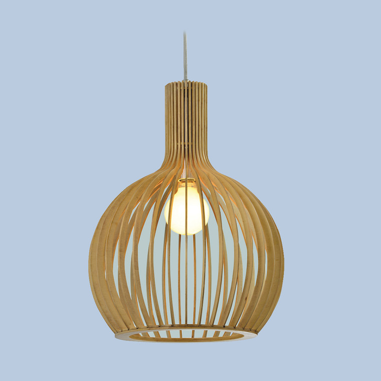 Light Timber Pendant Small Cage
