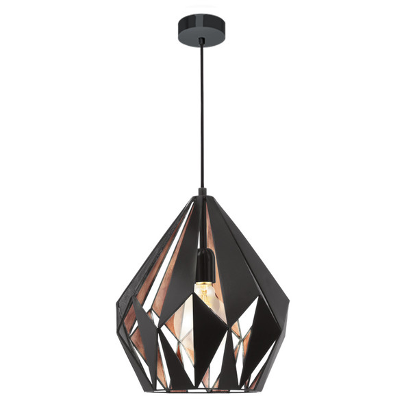 Eglo Carlton1 Medium Black & Copper Metal Hanging Pendant