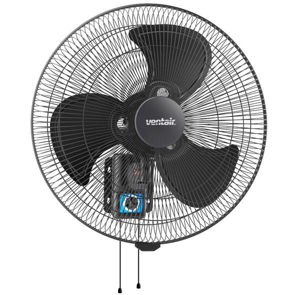 Ventair 45cm Black Heavy Duty Wall Fan With Pull Cord