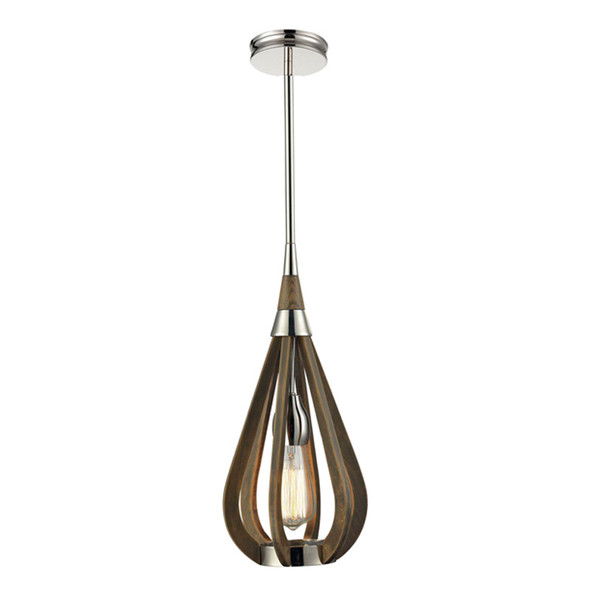 CLA Bonito1 1lt Polished Nickel & Taupe Hanging Pendant Small