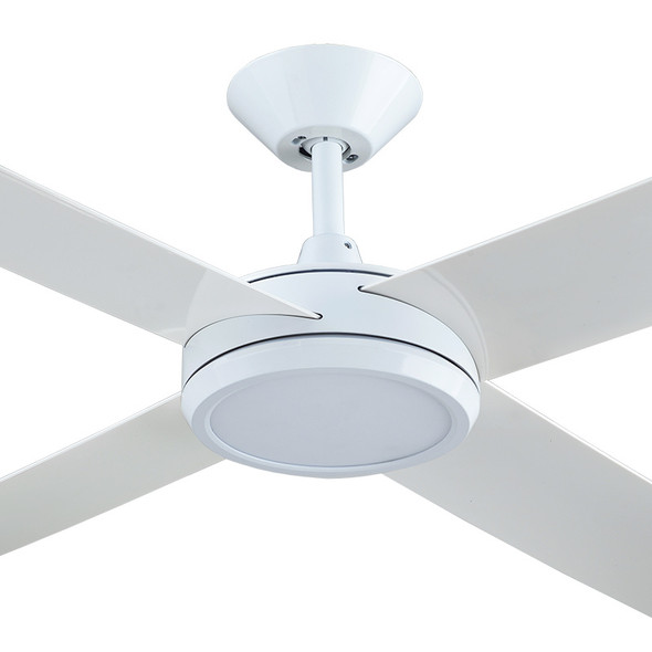 Hunter Pacific Concept 3 130cm White Plastic Indoor/Outdoor Ceiling Fan & LED Light