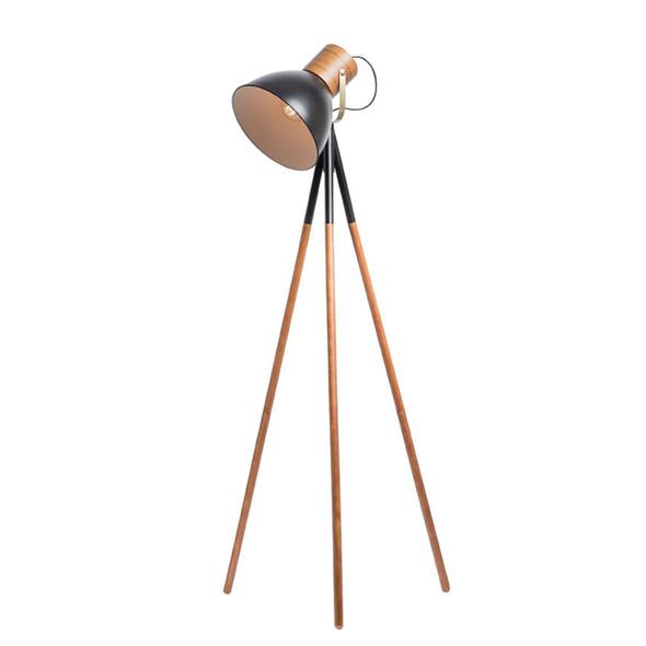 Mercator Calico Plywood Timber & Black Floor Lamp