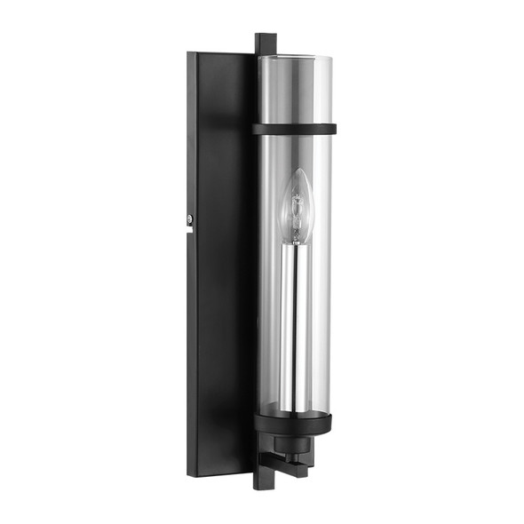 Eglo Lindale Black & Clear Glass Wall Light
