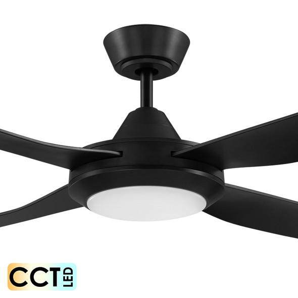 Eglo Bondi 132cm Black Plastic Indoor/Outdoor Ceiling Fan & LED Light