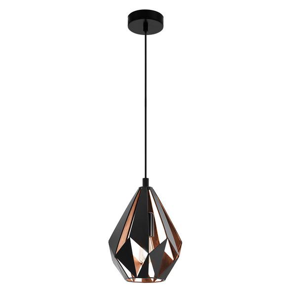 Eglo Carlton1 Small Black & Copper Metal Hanging Pendant