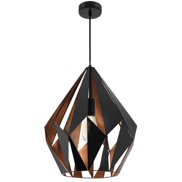 Eglo Carlton1 Large Black & Copper Metal Hanging Pendant