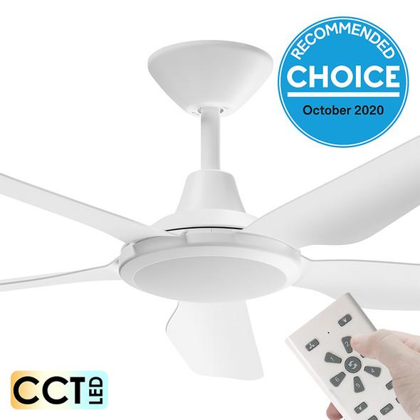 Airborne Storm DC Motor 132cm White LED Light & Remote Ceiling Fan