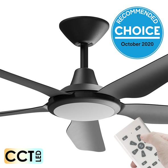Airborne Storm DC Motor 132cm Black LED Light & Remote Ceiling Fan