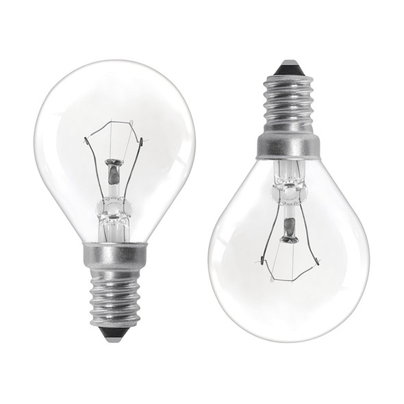 GE 25w E14 Incandescent Fancy Round Clear TWIN PACK