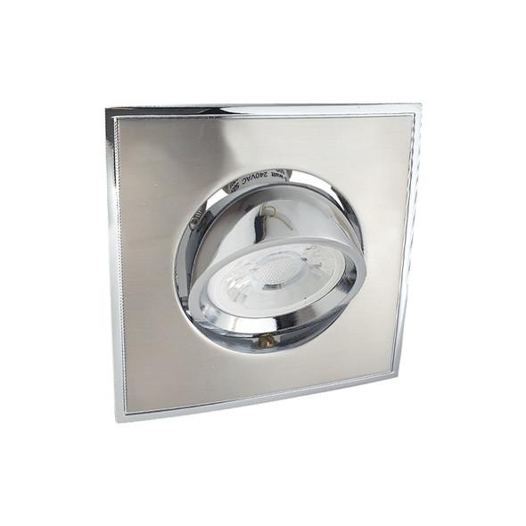 BP 4042A-GF GU10 LED Square Down Light Gimble Satin Nickel & Chrome