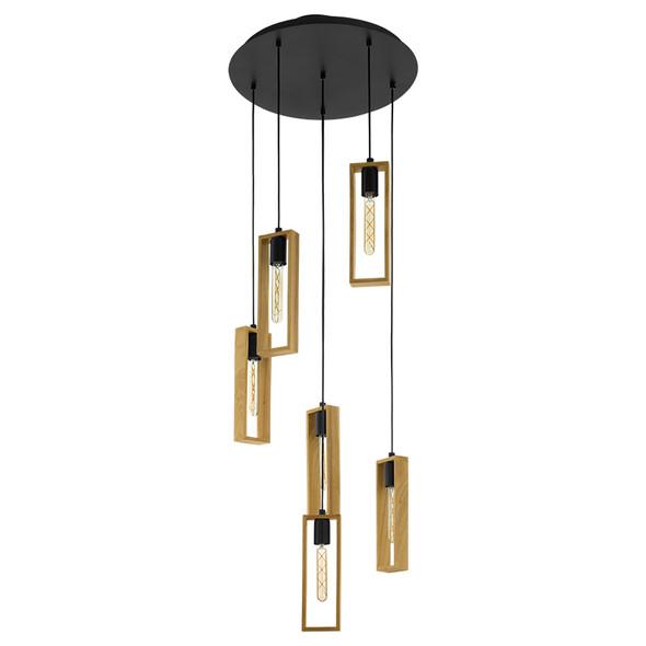 Eglo Littleton Large 6lt Hanging Timber Pendant