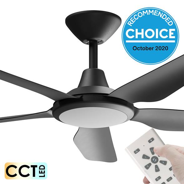 Airborne Storm DC Motor 122cm Black LED Light & Remote Ceiling Fan