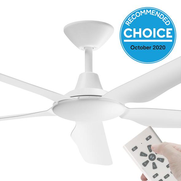 Airborne Storm DC Motor 143cm White & Remote Ceiling Fan
