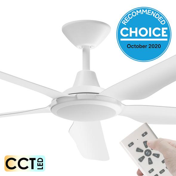 Airborne Storm DC Motor 143cm White LED Light & Remote Ceiling Fan