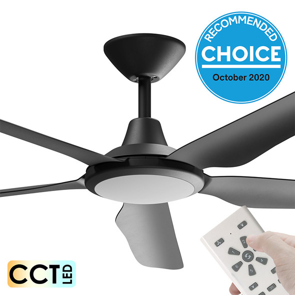 Airborne Storm DC Motor 143cm Black LED Light & Remote Ceiling Fan